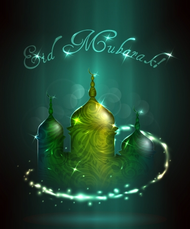Eid Mubarak greeting illustration  Vector