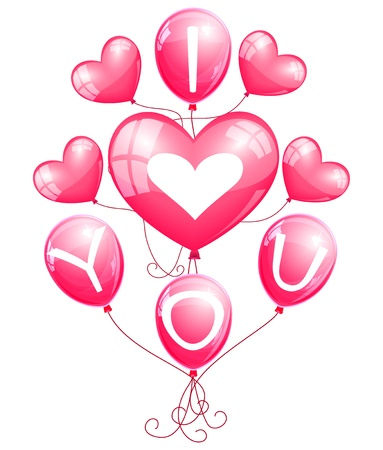 I love you  balloons Stock Vector - 15617727