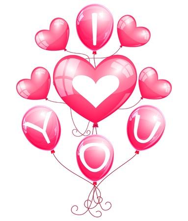 shiny hearts:  I love you  balloons
