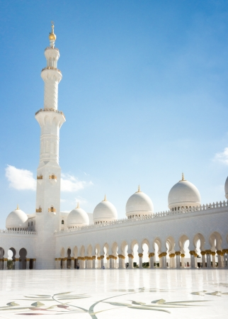 Minaret of Sheikh Zayed Grand Mosque in Abu Dhabi, the capital city of United Arab Emirates