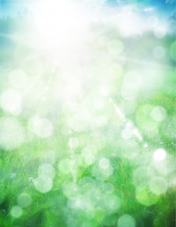 Abstract summer background with sun beams and defocused lights Stock Photo