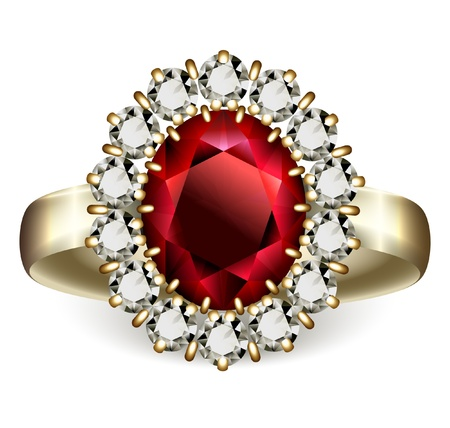 ruby: Golden ring with ruby and diamonds