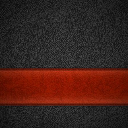 cuero vaca: Banda de cuero rojo sobre fondo de cuero negro con copyspace
