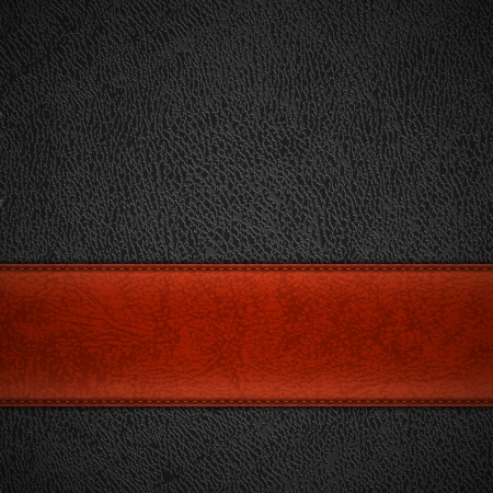 leather stitch: Red leather stripe on black leather background with copyspace