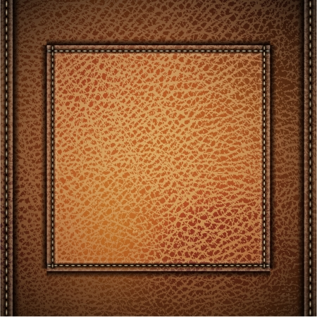 leather stitch: Leather background with label and stitches