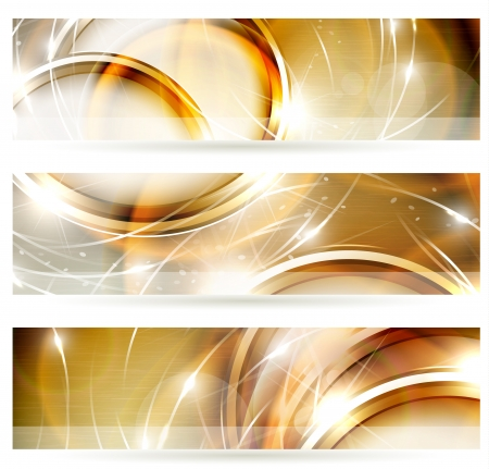 Abstract golden banners set
