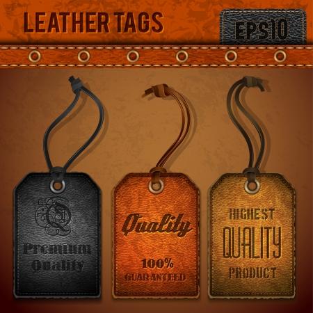 ropa colgada: Etiquetas de cuero Set