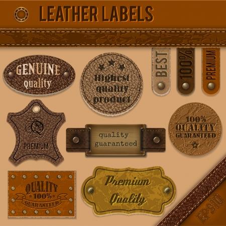 cintur�n de cuero: Etiquetas de cuero colecci�n Vectores