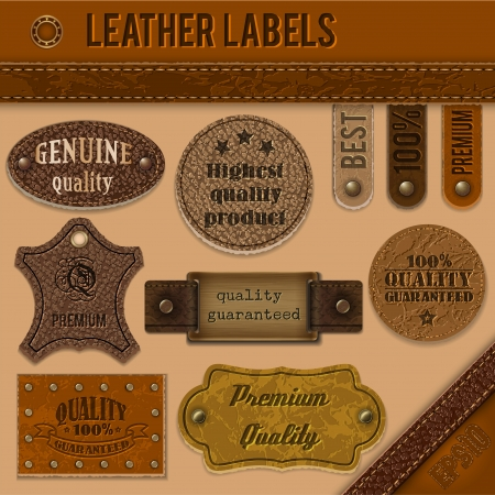Leather labels collection   Vector