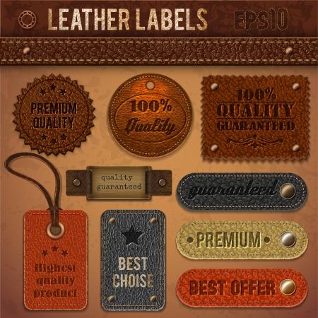 etiquetas de ropa: Etiquetas de cuero colección Vectores