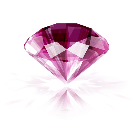 Pink ruby on white background