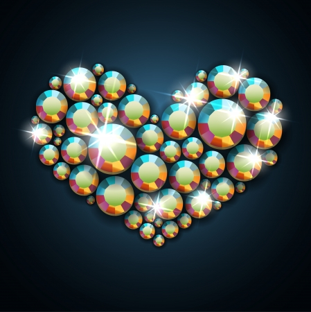 Gemstone heart   Vector