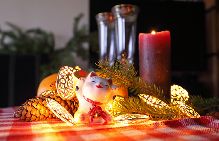 maneki neko: Happy New Year decoration with maneki neko.