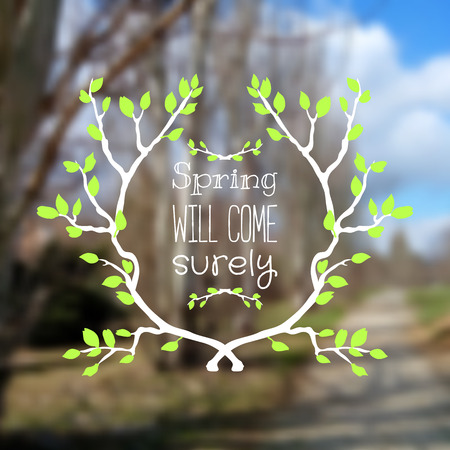 Beautiful blurred background with text and spring branches. photo