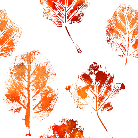 repetition: Seamless pattern with imprints of the leaves. Bright watercolor repetition texture. Summer or autumn design. Illustration