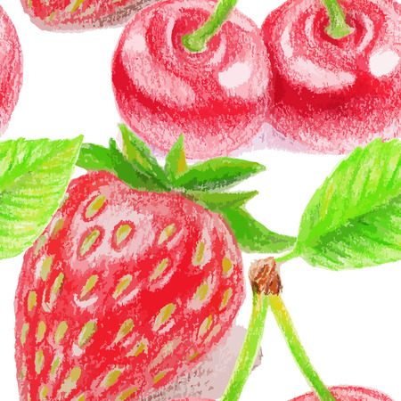 Seamless pattern with cherry and strawberry. Color pencils illustration.