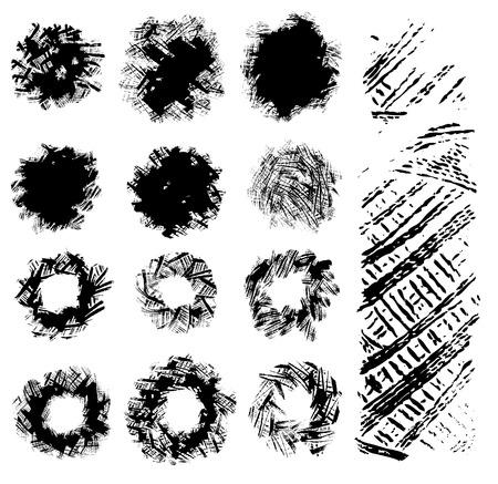 imprints: Set of black traced ink thread imprints. Vector clip-art. Stamp of yarn coil.