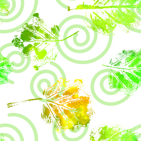 Seamless pattern with imprints of the leaves. Bright watercolor repetition texture. Summer or autumn design. Vector