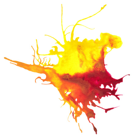 yellow paint: Beautiful traced vector watercolor splatter. Stain of yellow and red paint. Illustration