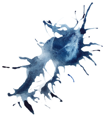 traced: Beautiful traced vector watercolor splatter. Stain of blue and grey paint.