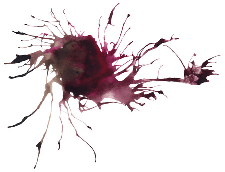 traced: Beautiful traced vector watercolor splatter. Stain of brown and violet paint.