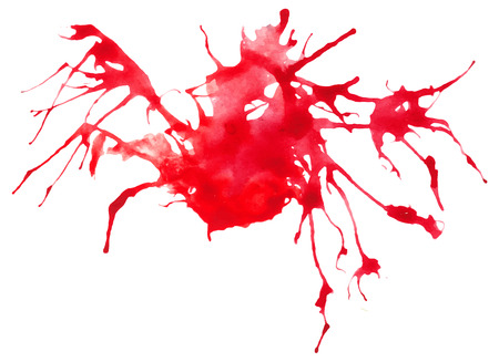 traced: Beautiful traced vector watercolor splatter. Stain of red paint.