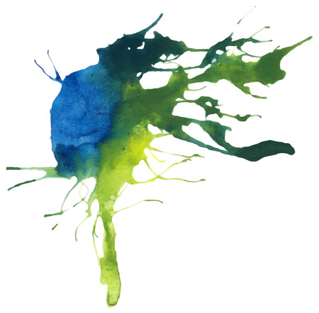 yellow paint: Beautiful traced vector watercolor splatter. Stain of blue and yellow paint.