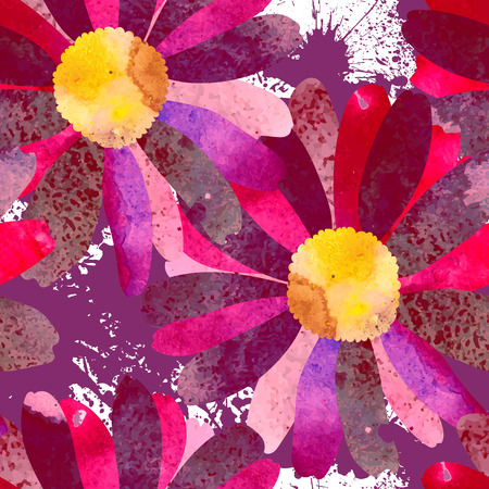 Seamless pattern with beautiful watercolor flowers.  Silhouette of a chamomile with fantastic stains.