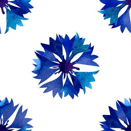 cornflowers: Seamless pattern with beautiful watercolor cornflowers.