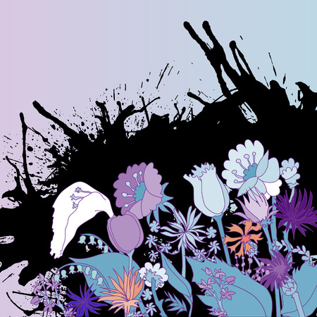 champ de fleurs: Abstract backdrop design with field flowers and blots and place for your text