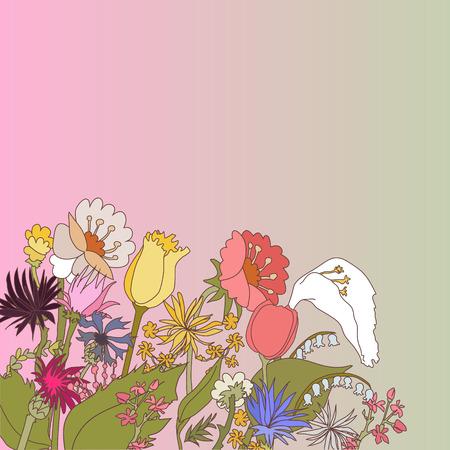 champ de fleurs: Conception de toile de fond abstrait avec des fleurs sur le terrain et le lieu pour votre texte