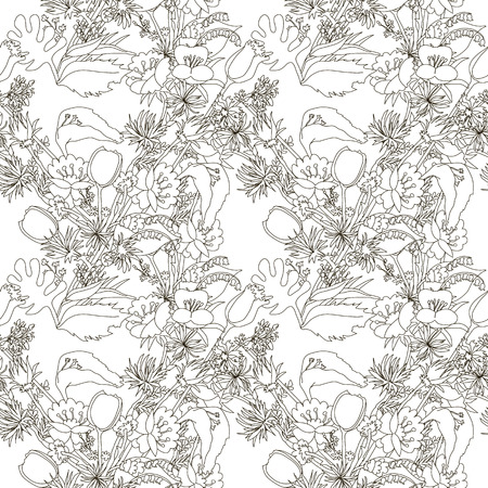 aster: Floral seamless pattern with wildflowers. Messy background with tulip, lily, aster and other flowers.