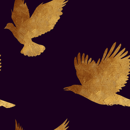 plated: Creative design with golden silhouettes of a dove and crow. Seamless pattern with golden birds.