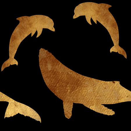 plated: Creative design with golden silhouettes of a whale and dolphin. Seamless pattern with golden oceanic animals.