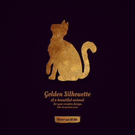 silueta gato: Diseño creativo con la silueta de oro de un gato para la tarjeta, bandera, cubierta, folleto, etc.