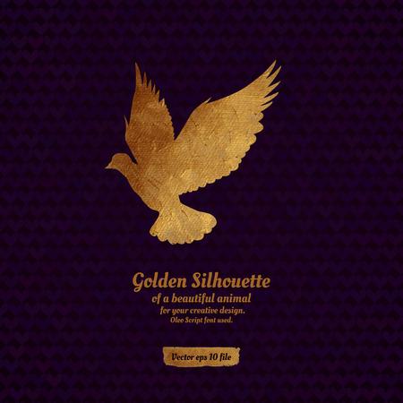 paloma: Dise�o creativo con la silueta de oro de paloma para la tarjeta, bandera, cubierta, folleto, etc.