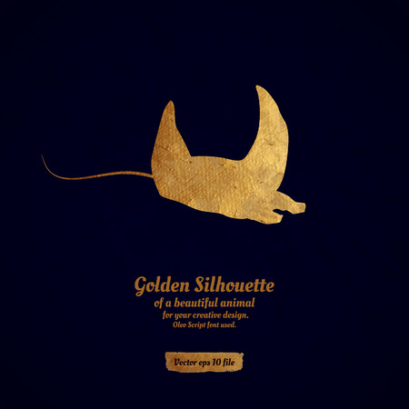 scat: Creative design with golden silhouette of a manta for card, banner, cover, brochure, etc.