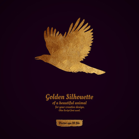 Creative design with golden silhouette of a crow for card, banner, cover, brochure, etc.
