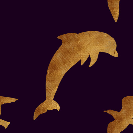 oceanic: Creative design with golden silhouettes of a seagull and dolphin. Seamless pattern with golden oceanic animals. Illustration
