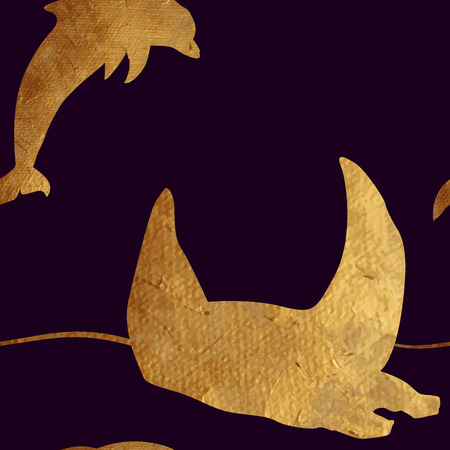 oceanic: Creative design with golden silhouettes of a whale and dolphin. Seamless pattern with golden oceanic animals.