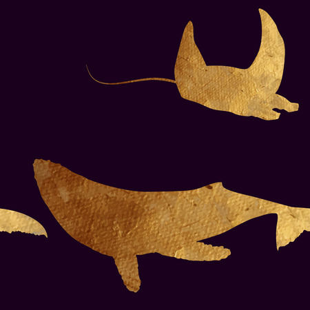 scat: Creative design with golden silhouettes of a whale and dolphin. Seamless pattern with golden oceanic animals.