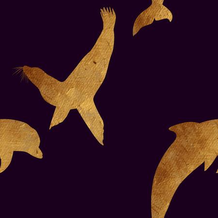 대양의: Creative design with golden silhouettes of a whale and dolphin. Seamless pattern with golden oceanic animals.