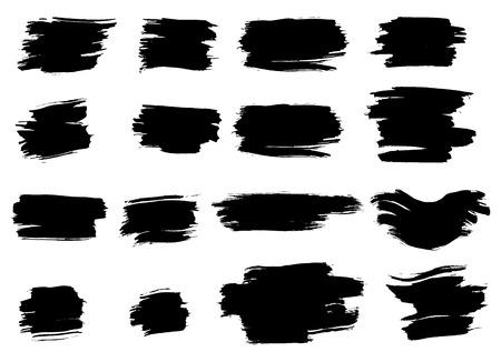 Set of grunge ink vector elements. Brush strokes.
