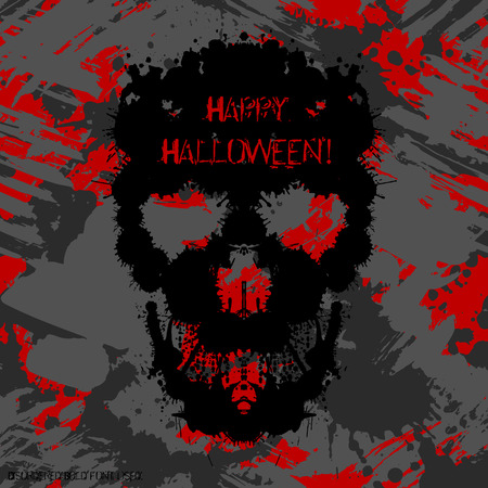 depressive: Scary Invitation for Halloween Party. Blots silhouettes card design.