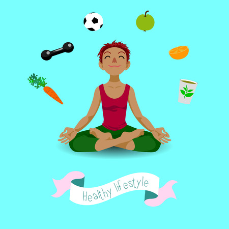 yogi aura: Happy girl in yoga lotus position in cartoon style. Healthy lifestyle.