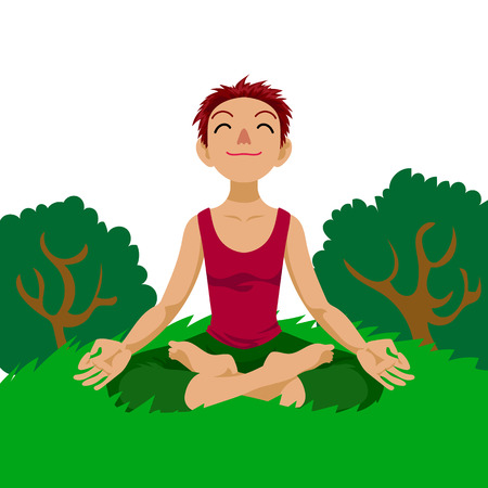 yogi aura: Happy girl in yoga lotus position in cartoon style.