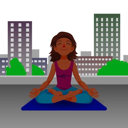 Happy girl in yoga lotus position in cartoon style.