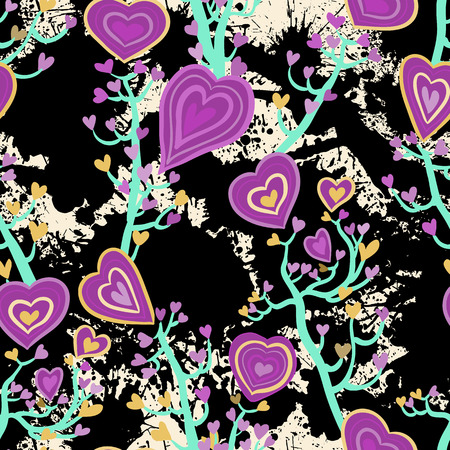 lovestruck: Seamless pattern with heart flowers and blots Illustration