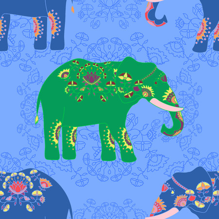 plated: Seamless pattern with indian elephant with beautiful pattern. Elephant Festival Jaipur.