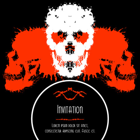 depressive: Scary Skulls Invitation or Postcard for Halloween Party. Blobs silhouettes card design.